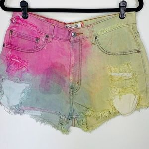 VINTAGE LEVI CUT OFFS rainbow unicorn 505